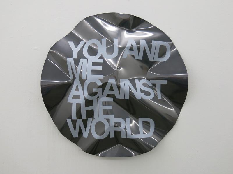 You and me against the world, 2013. Acero inoxidable, pintura electrostatica e impresión UV. 60 cm diametro